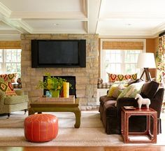 Centsational Style's Kate Riley shares inspiration for incorporating televisions above your mantle. Read more here: http://www.bhg.com/blogs/centsational-style/2013/01/19/televisions-above-the-mantel/