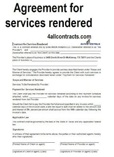2 Sample Contract Agreement For Services Rendered Contract Agreement Rental Agreement Templates Construction Contract