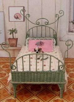 how to: wicker bed. This site is in Dutch but the pictures are well laid out.  There are many wonderful doll craft furnitures, and items. Your site can be translated to English!