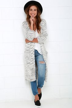 London Fields Grey and Ivory Long Cardigan Sweater