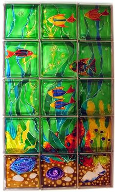 Painted glass block wall - for that one window in the bathroom...