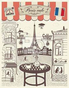 Wall Mural Parisian street restaurant with views of the Eiffel Tower