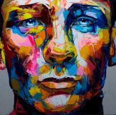 Daniel Graig par Françoise Nielly. Painting 140/140cm. Oil