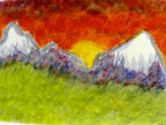 Painting - mountain peaks - green, red, purple, gold, - Four Winds Waldorf School.