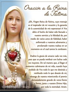 ® Blog Católico Gotitas Espirituales ®: VIRGEN DE FÁTIMA Spiritual Prayers, Prayers For Healing, Catholic Prayers In Spanish, Fatima Prayer, Mother Mary Images, Holy Spirit Prayer, Bible Quiz, Pictures Of Jesus Christ, Blessed Mother Mary