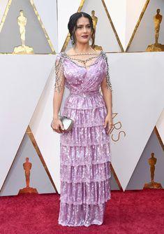 Salma Hayek : Custom Gucci Lavender Sequin-Embellished Tiered Dress / Harry Winston Jewelry