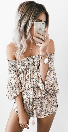 #summer #ultimate #outfits |  Off The Shoulder Print Playsuit