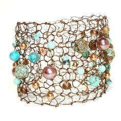 Copper Chocolate Turquoise Cuff Bracelet Unique Wire Knit by lapisbeach