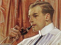 Leyendecker and mistaken it for that of Norman Rockwell; American Illustration, Illustration Art, Vintage Illustrations, Joseph, Smoking Images, Jc Leyendecker, Guy Drawing, Cinema, Portrait Art