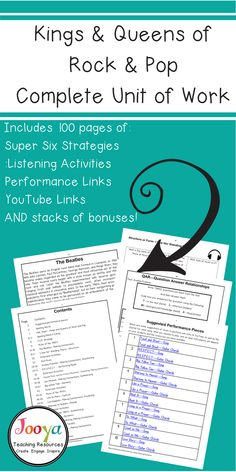 Try the Kings and Queens of Rock and Pop unit of work for a series of fun and engaging lessons. These printable lessons and activities about rock and popular music musicians include Super Six Strategies, Listening worksheets, Paragraph Writing resources and YouTube links. Your Middle School and General Music students will love this complete unit of work. All you have to do is teach it!