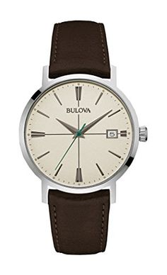 Men's Wrist Watches - Bulova Mens 96B242 20mm Leather Calfskin Black Watch Bracelet ** Check out this great product.