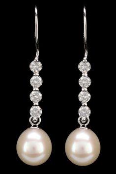 Splendid Pearls 8-9mm Freshwater Pearl & Zirconia Earrings In White - Beyond the Rack