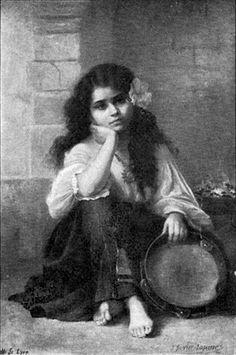 A Gypsy Girl With a Tambourine Unknown French artist 1907 Gypsy Trailer, Gypsy Caravan, Gypsy Girls, Gypsy Women, Gypsy Life, Gypsy Soul, Romanian Gypsy, Gypsy Culture, Emo