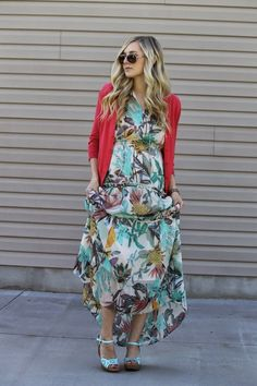 floral dress, mint wedges, summer tropical print, coral cardigan, maternity fashion, pregnancy style
