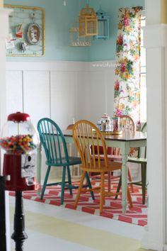 Eclectic craft room, so colorful and fun! @Lolly Jane {lollyjane.com} Hang curtains without a rod.