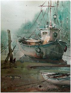 Dusan Djukaric   Fisherman boats, watercolor, 30x40 cm