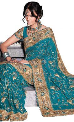 A teal and gold sari.