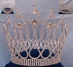 "Exquisite Teardrop Crown This crown is breath taking! Popular for beauty pageants, prom queens, and Mardis Gras. 7"" high x 7"" diameter full 5 rows base crown. Set with the finest clear genuine Swarovs"