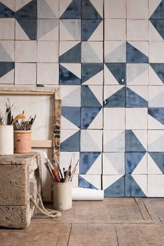 Our New Recubed Blue tiles in a fresh blue palette from Smink Things