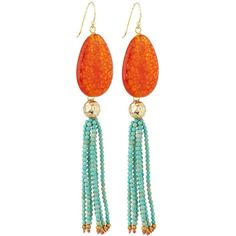Panacea Agate & Howlite Beaded Tassel Drop Earrings (135 BRL) ❤ liked on Polyvore featuring jewelry, earrings, multi, long teardrop earrings, beaded earrings, golden earring, drop earrings and orange earrings