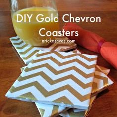 Easy Do It Yourself Gold Chevron Coasters. #diy #diyprojects #diydecor