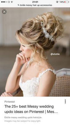 Messy Wedding Updo, Bridal Hairdo, Long Hair Wedding Styles, Wedding Hair Flowers, Wedding Hairstyles For Long Hair, Wedding Hair And Makeup, Bride Hairstyles, Bridal Hair Tutorial, Engagement Hairstyles