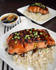 Salmón a la parrilla con salsa teriyaki. #receta