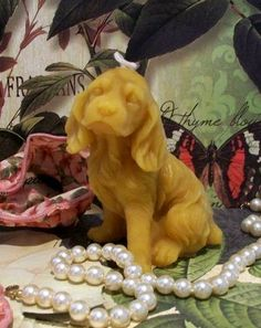 Beeswax Dog Candle Cocker Spaniel Puppy Dog by catfishcreekcandles