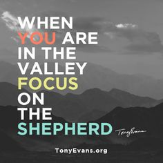 When you are in the valley focus on the Shepherd. - Tony Evans #drtonyevans #HopeWords #inspirationalquotes TonyEvans.org