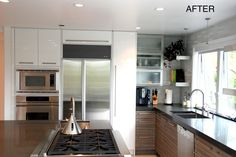 Italian Laminate Cabinetry with Gloss White Accent Cabinets