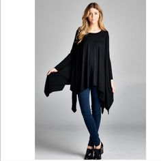 It's here! NWT Boho Tunic Long and flowy black pullover tunic. Pair wit leggings! No trades. Generous discount with bundle. Size is one size. Preorder today!! Aprilspirit Tops Tunics
