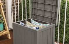 Suncast 22-Gallon Small Deck Box - Lightweight Resin Indoor/Outdoor Storage Container and Seat for Patio Cushions and Gardening Tools - Store Items on Patio ** You can find more details by visiting the image link.-It is an affiliate link to Amazon.