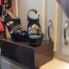 NWOT, Michael Kors Black Leather Heel Sandal New never worn, black leather sandal with Michael Kors signature MK front decal and buckles, 5 inch heels. Michael Kors Shoes Heels