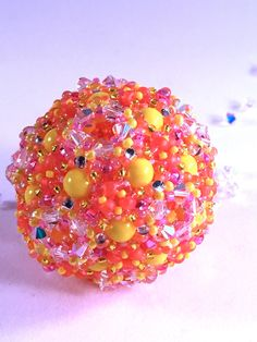 Citrus Kaleidoscope Orb Ornament by RoyalJDesigns on Etsy