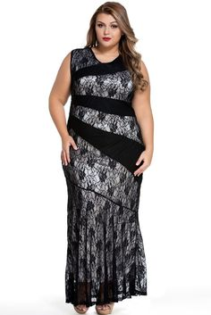 Adogirl Lace Maxi  Mermaid Sleeveless O Neck - almaj A touch of Class - 2
