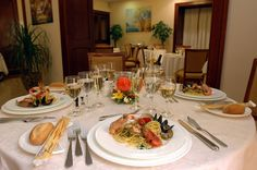 Southern Italian dinner in Le Cheminée Business hotel, Naples (Italy).  Have a good lunch!
