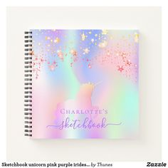 Sketchbook unicorn pink purple iridescent name notebook Rainbow Names, Drawing School, Notebook Covers, Love Messages, Page Design, Holographic, Rainbow Colors, Iridescent, Pink Purple