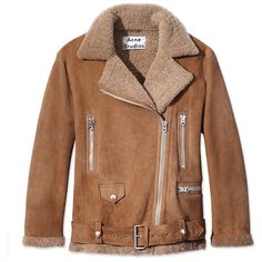 Acne Blonde Suede & Shearling Jacket ($2,800) ❤ liked on Polyvore featuring outerwear, jackets, neutrals, suede leather jacket, brown suede jacket, acne studios, belted jacket and shearling jacket