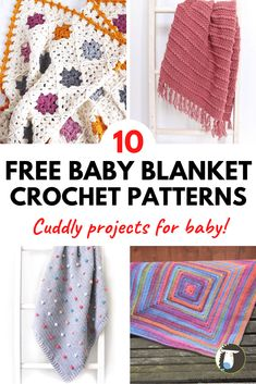 10 FREE Baby Blanket Crochet Patterns - all cute and cuddly! Includes easy and unique baby blanket project for girls or boys.
