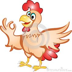 Cartoon hen with a funny expression.