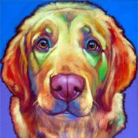 Golden Retriever? Ron Burns' artwork conveys his love for mans' best friend. His creative use of bold, contrasting colours captures a happy disposition of his subject.