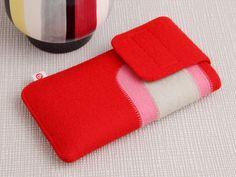 """Smartphonetasche """"Rot-Rosa-Beige"""" von blandine taschen  auf DaWanda.com 14cm x 7,5cm x 0,8cm  für Geräte,  die ca. 12,5cm x 6cm x 1cm groß sind.z. B. das iPhone 5 S, das iPhone 5 C und der iPod touch 5. 26"""