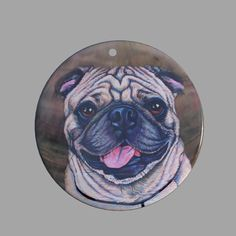 HAND PAINTED BULLDOG NATURAL MOTHER OF PEARL SHELL DIY PENDANT ZP30 00704 #ZL #PENDANT