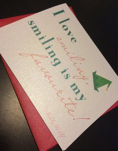"""Christmas Card - """"i love smiling"""" Buddy the elf Holiday greeting card by UptownDesignsCanada on Etsy Holiday Greeting Cards, Christmas Cards, Buddy The Elf, Etsy Store, My Love, Unique Jewelry, Handmade Gifts, Christmas E Cards, Kid Craft Gifts"""