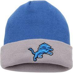 3ac390b535b58 clearance mens detroit lions new era blue silver 2 tone cuffed knit hat  6042b 3d367