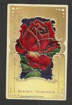 Heymann Red Roses Best Wishes Embossed Vintage Postcard #BestWishes