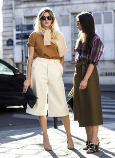 Sweater tied around the neck, neutral tee, off white culottes & nude pumps #style #fashion #streetstyle #camillecharriere