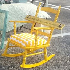 Distressed Yellow Rocking Chair with Chevron Upholstered Cushion by My Three Cs