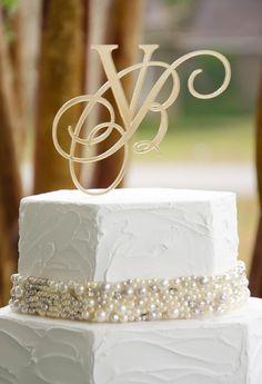 """5"""" Elegant Two Initial Custom Letter Monogram Wedding Cake Topper. $30.00, via Etsy."""