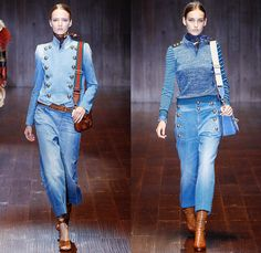 Gucci 2015 Spring Summer Womens Runway Looks - Milano Moda Donna Collezione Fashion Week Italy - 1970s Seventies Denim Jeans Marching Band Sailor Nautical Outerwear Jacket Trench Coat Knit Sweater Jumper Embroidery Flowers Florals Foliage Fauna Leaves Reptile Snakeskin Asian Chinese Swan Prints Graphic Motif Kimono Wrap Wide Leg Pants Trousers Boots Lace Up Coatdress Shirtdress Cargo Pockets Furry Dress Suede Mesh Halter Top